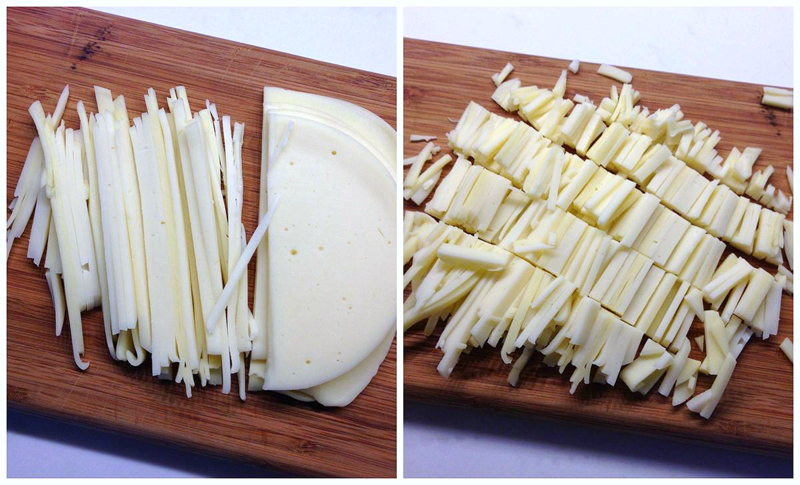 "Stack, slice and dice provolone for instant ""shreds"""