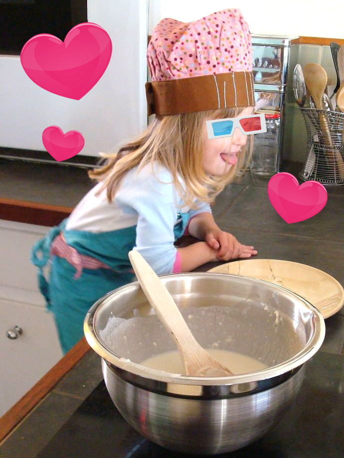 Mommy's little pancake helper!
