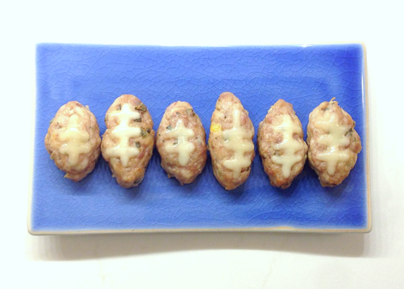Breakfast sausage footballs...too cute!