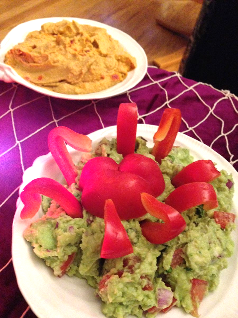 Guacamole with Bell Pepper Octopus - SCD Pirate Party Food