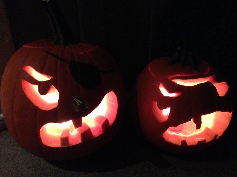 Angry pirate pumpkins.  #Halloween