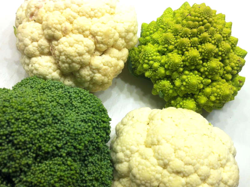 Broccoli, cauliflower, romesco