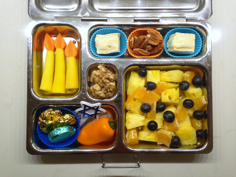 Colorful Hanukkah Bento ideas for SCD & Paleo