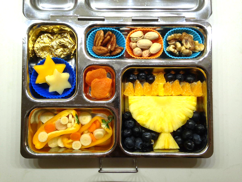 Pineapple Menorah Hanukkah Bento lunch - Paleo & SCD